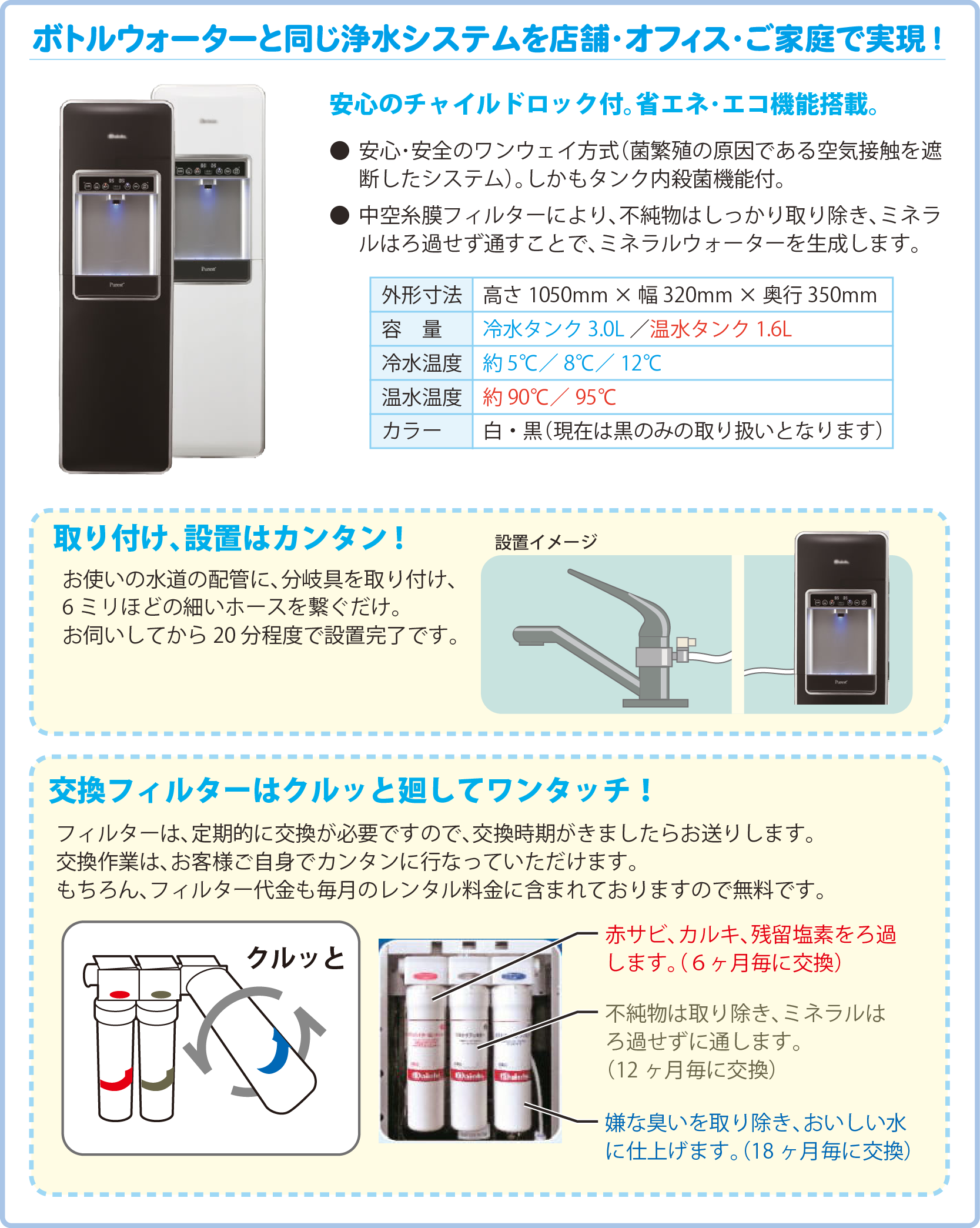 ボトルウォーターと同じ浄水システムを店舗・オフィス・ご家庭で実現!安心のチャイルドロック付。省エネ・エコ機能搭載。●安心・安全のワンウェイ方式(菌繁殖の原因である空気接触を遮断したシステム)。しかもタンク内殺菌機能付。 ●中空糸膜フィルターにより、不純物はしっかり取り除き、ミネラルはろ過せず通すことで、ミネラルウォーターを生成します。取り付け、設置はカンタン!お使いの水道の配管に、分岐具を取り付け、6ミリほどの細いホースを繋ぐだけ。 お伺いしてから20分程度で設置完了です。交換フィルターはクルッと廻してワンタッチ!フィルターは、定期的に交換が必要ですので、交換時期がきましたらお送りします。 交換作業は、お客様ご自身でカンタンに行なっていただけます。 もちろん、フィルター代金も毎月のレンタル料金に含まれておりますので無料です。